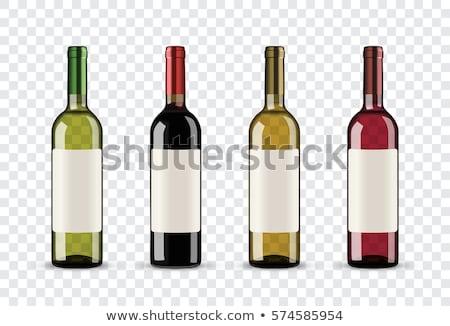 Bottiglia di vino bianco uva tavolo in legno top view copia spazio Foto d'archivio © karandaev