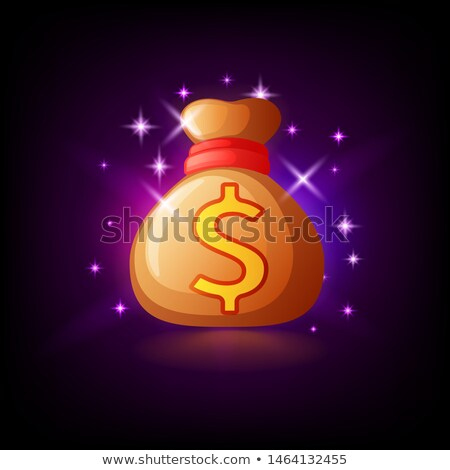 Sparkling bag with money, slot icon for online casino or logo for mobile game on dark purple backgro Stock photo © MarySan