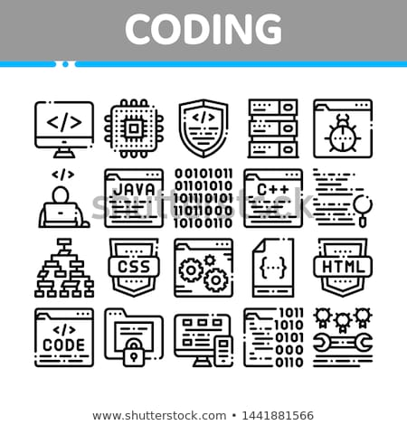 coding development language vector thin line icon stock photo © pikepicture