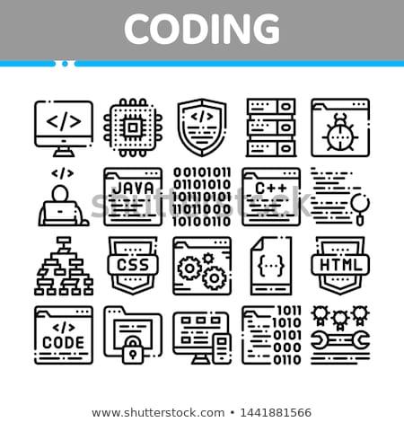 Codificación desarrollo idioma vector delgado línea Foto stock © pikepicture