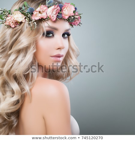 Aesthetic Cosmetology . Spring Woman . Beauty Summer model girl with colorful flowers . Beautiful La Stock photo © serdechny