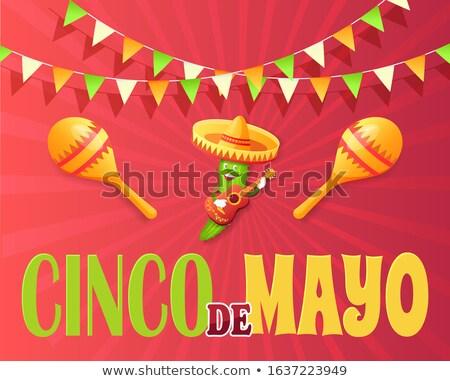 mexicano · bandera · vector · sol · mapa · verde - foto stock © robuart