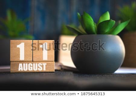 Kockák augusztus piros fehér asztal renderelt kép Stock fotó © Oakozhan