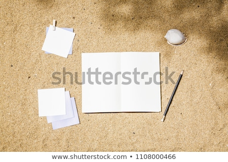 notebook with seashells on beach sand stock photo © dolgachov