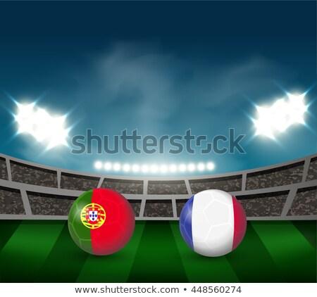 футбольным мячом огня Португалия флаг иллюстрация Футбол Сток-фото © doomko