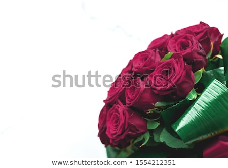 Luxury bouquet of burgundy roses on marble background, beautiful Stock photo © Anneleven