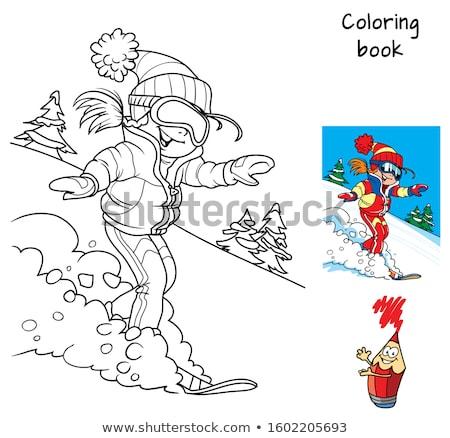 Snowboarden meisje cartoon kleurboek pagina zwart wit Stockfoto © izakowski