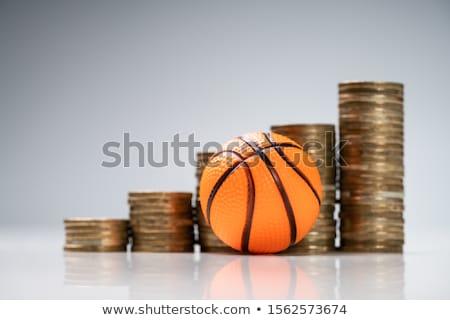 Miniatur Basketball Münze weiß Schreibtisch golden Stock foto © AndreyPopov