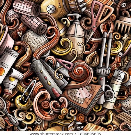 Stockfoto: Cartoon Doodles Hand Drawn Hair Salon Seamless Pattern