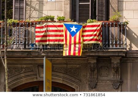 Zászló erkély Barcelona Spanyolország épület otthon Stock fotó © ShustrikS