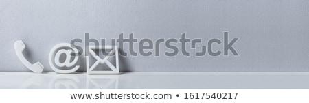 Popular contacto iconos de la web escritorio blanco Foto stock © AndreyPopov