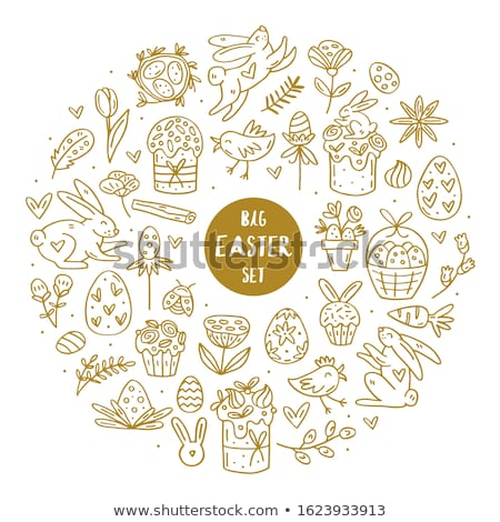 Easter elements doodle hand drawn vector big set of elements, clip art, illustration, sticker. Stock photo © foxbiz