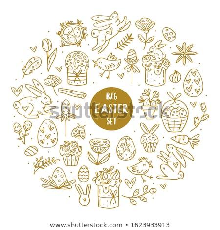 Wielkanoc elementy gryzmolić wektora duży Zdjęcia stock © foxbiz
