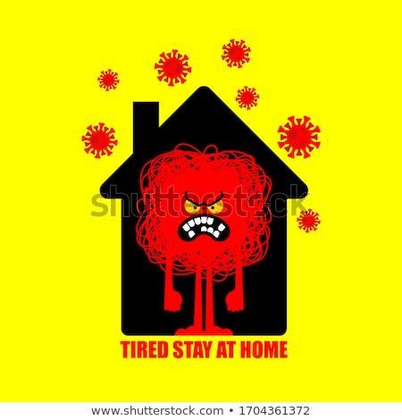 Zmęczony pobyt domu zły irytacja domu Zdjęcia stock © popaukropa