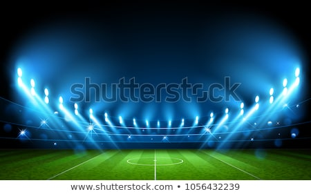 Night Football Stadium With Bright Lights Vector Stock photo © pikepicture