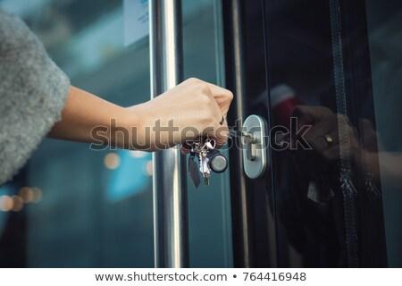 enferrujado · metal · porta · trancar · parede · textura - foto stock © deyangeorgiev