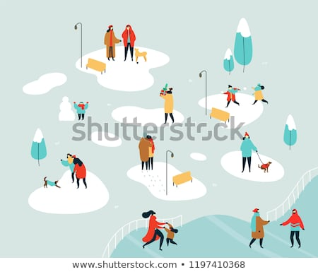 Boy playing with dog at snow Stock photo © simply