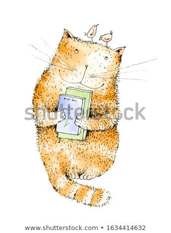 folk style cats with birds and fish stock photo © galyna