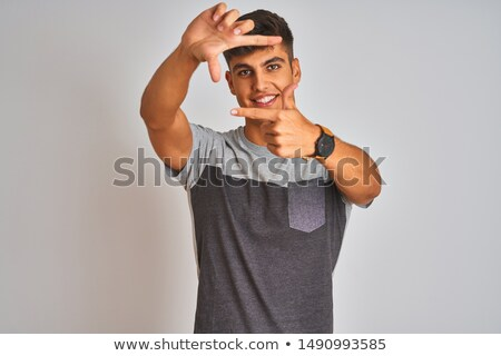 Hand framing white background Stock photo © simply