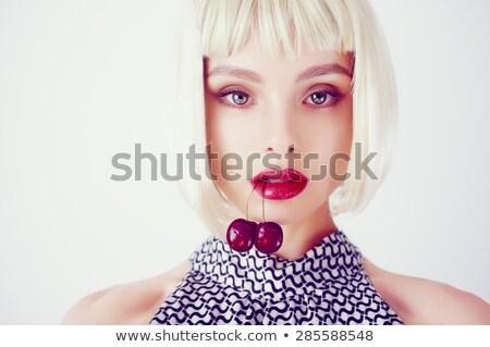Foto stock: Mulher · jovem · cereja · isolado · branco · menina · comida