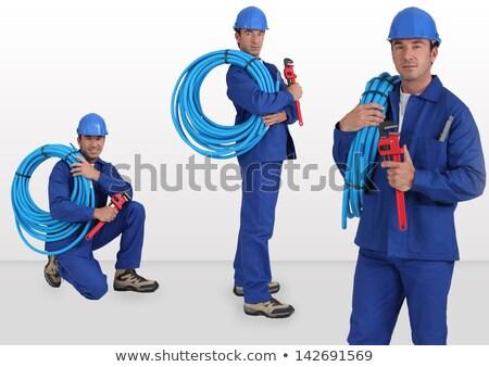 Cols bleus épaule détendre blanche Photo stock © photography33