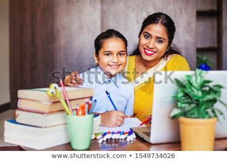 nina · deberes · mamá · adolescente · sesión · junto - foto stock © photography33