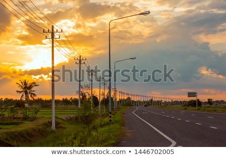 Verão paisagem elétrico campo alta tensão céu Foto stock © remik44992