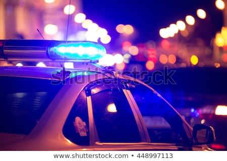 vermelho · polícia · luz · brilhante · nebuloso · noite - foto stock © njnightsky