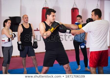 Férfi harc hozzáállás izolált fehér üzlet Stock fotó © pzaxe