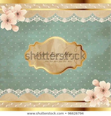 Lacy Square Banner With Flowers Stock photo © karolinal