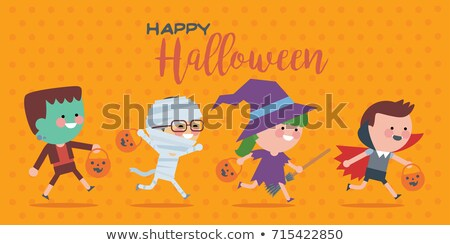 Cute Halloween Kids In Trick or Treat Costumes Cartoon Vector Il Stock photo © chromaco
