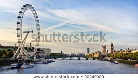 london eye with big ben at dusk stock photo © vichie81