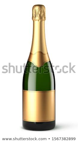 Botella champán oro etiqueta celebración nuevos Foto stock © ozaiachin