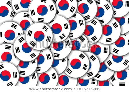 Autocollants boutons drapeaux ovale forme Photo stock © experimental