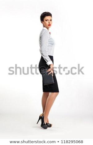 Zdjęcia stock: Confident Businesswoman Secretary With Handbag Sideways