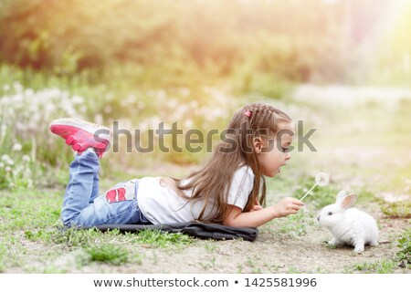 Portrait of the beautiful girl lying on grey fur Stock photo © acidgrey