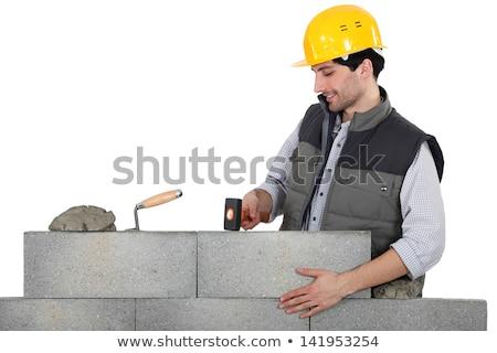Mason mounting a brick wall Stock photo © photography33