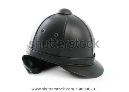 Black ridding cap for horse riders isolated on white Stock photo © shutswis