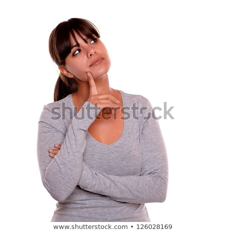élégant réfléchissant adulte femme regarder blanche Photo stock © pablocalvog