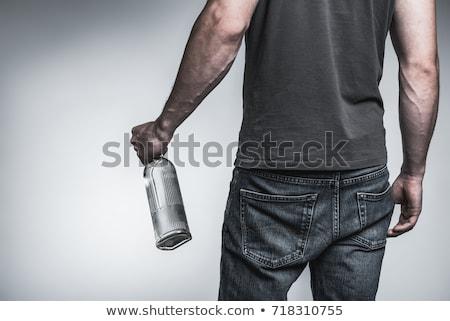 Felnőtt férfi tart alkoholos ital figyelmes fekete Stock fotó © juniart