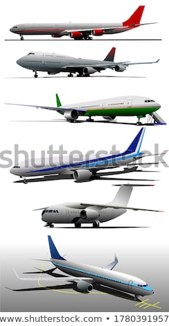 Six Airplanes on the airfield. Vector illustration Stock photo © leonido