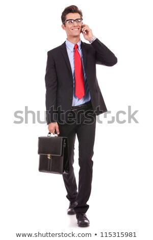 hombre · teléfono · celular · maletín · caucásico · tatuajes · hablar - foto stock © feedough