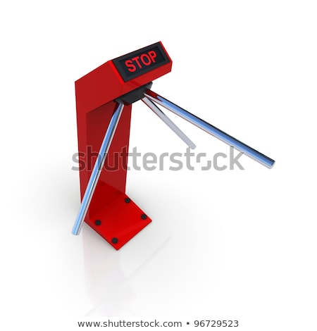 Turnstile white forbidding passage. 3D rendering Stock photo © cherezoff