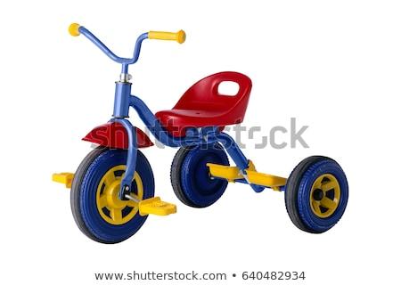 kırmızı · üç · tekerlekli · bisiklet · boş · çimento · bisiklet · egzersiz - stok fotoğraf © michaklootwijk