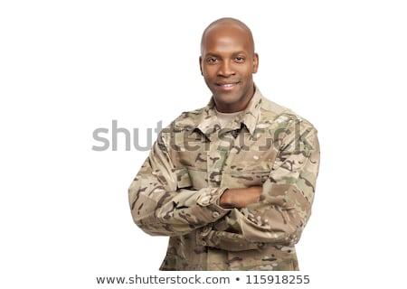 soldat · permanent · blanche · homme · guerre · amusement - photo stock © andreypopov