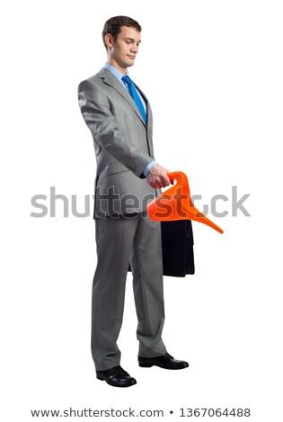 Noir cuir valise 3d illustration isolé blanche Photo stock © reticent