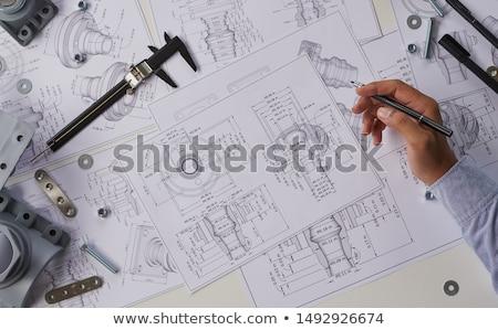 エンジニアリング 図面 ツール 孤立した 白 建設 ストックフォト © designsstock