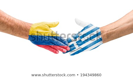Kézfogás Colombia Görögország kéz megbeszélés sport Stock fotó © Zerbor