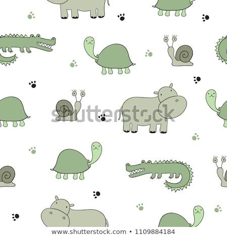 Sketch hippo, vector vintage seamless pattern Stock photo © kali