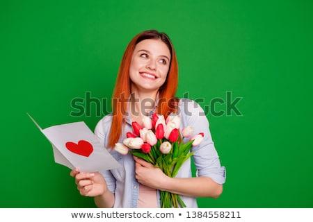 Gracioso menina vestido isolado branco mulheres Foto stock © 26kot